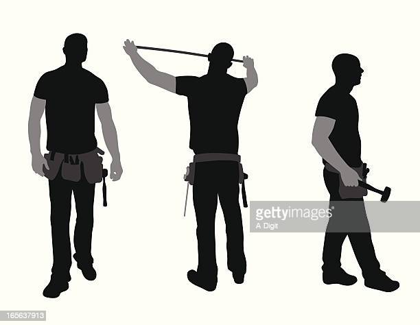 construction worker vector silhouette - tool belt stock illustrations, clip art, cartoons, & icons