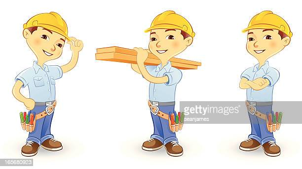 ilustraciones, imágenes clip art, dibujos animados e iconos de stock de trabajador de la construcción usando cascos y cinturón de herramientas - electricista