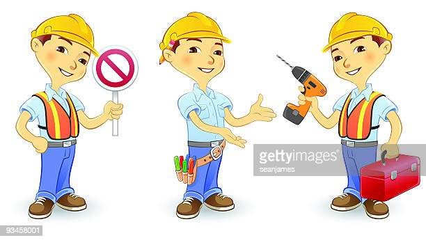 construction worker wearing hard hat, tool belt, safety vest - tool belt stock illustrations, clip art, cartoons, & icons