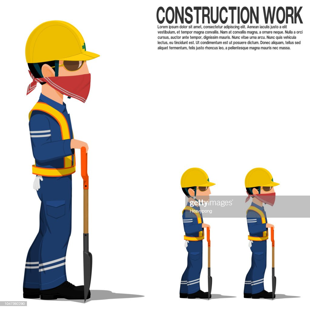 A construction worker with a shovel on white background