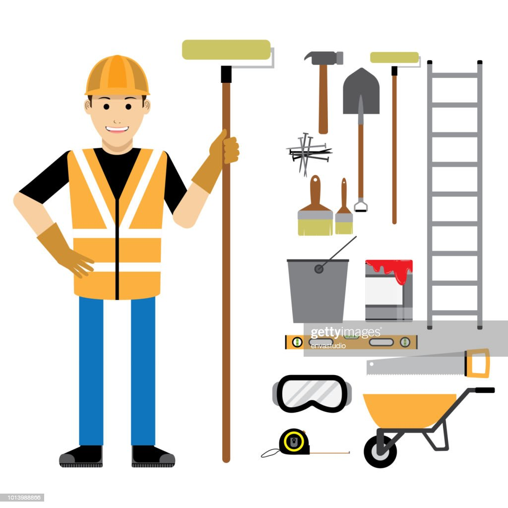 Construction Worker with Construction Tools