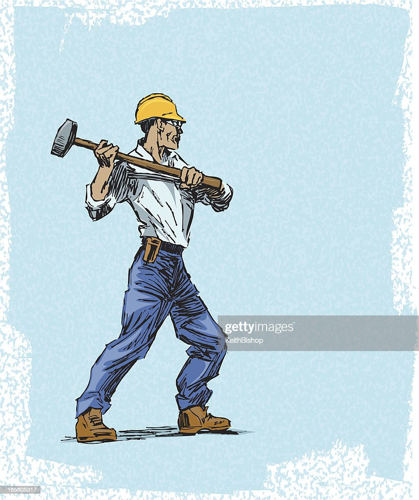 Construction Worker With Sledge Hammer And Hard Hat Vector Art
