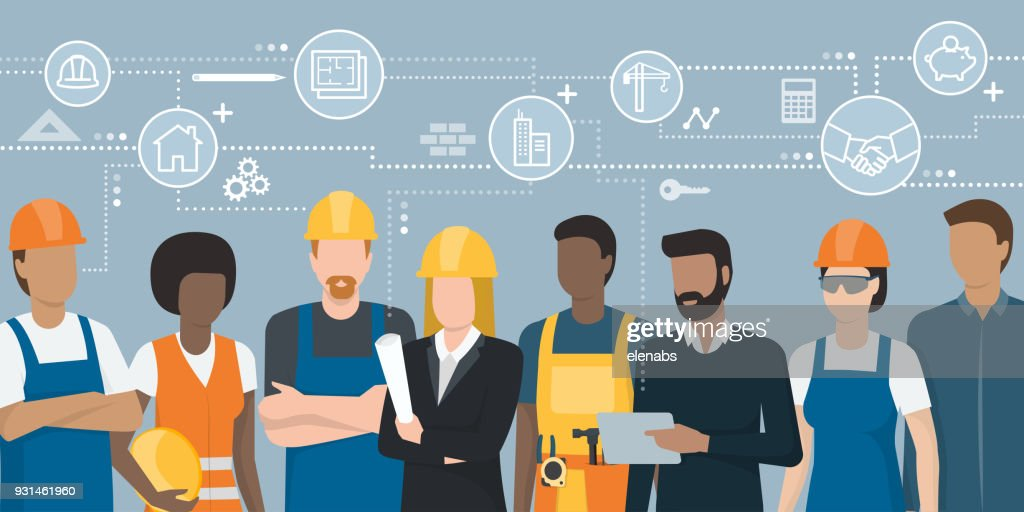 Construction workers and engineers team