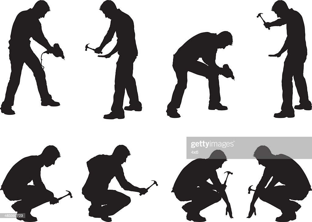 Construction workers drilling and hammering : stock illustration
