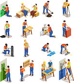 construction workers isometric people