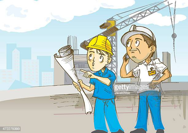 construction workers on site - inspector stock illustrations, clip art, cartoons, & icons