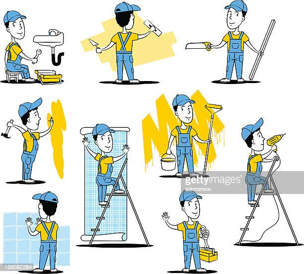 construction workers - carpentry stock illustrations