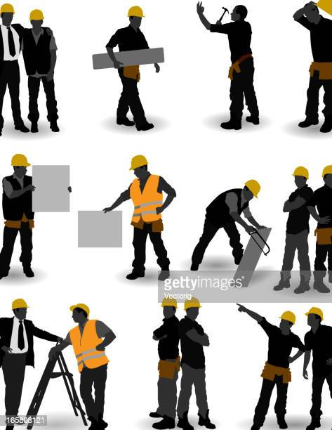 construction workers - contractor stock illustrations, clip art, cartoons, & icons