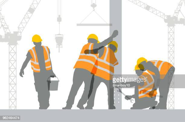 construction workers - building contractor stock illustrations