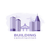Construction working industry concept. Building construction logo in violet.  High-rise buildings, bridge, construction cranes on brush stroke background. Stock vector. Vector illustration EPS10.