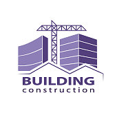Construction working industry concept. Building construction logo in violet. Stock vector. Vector illustration EPS10.
