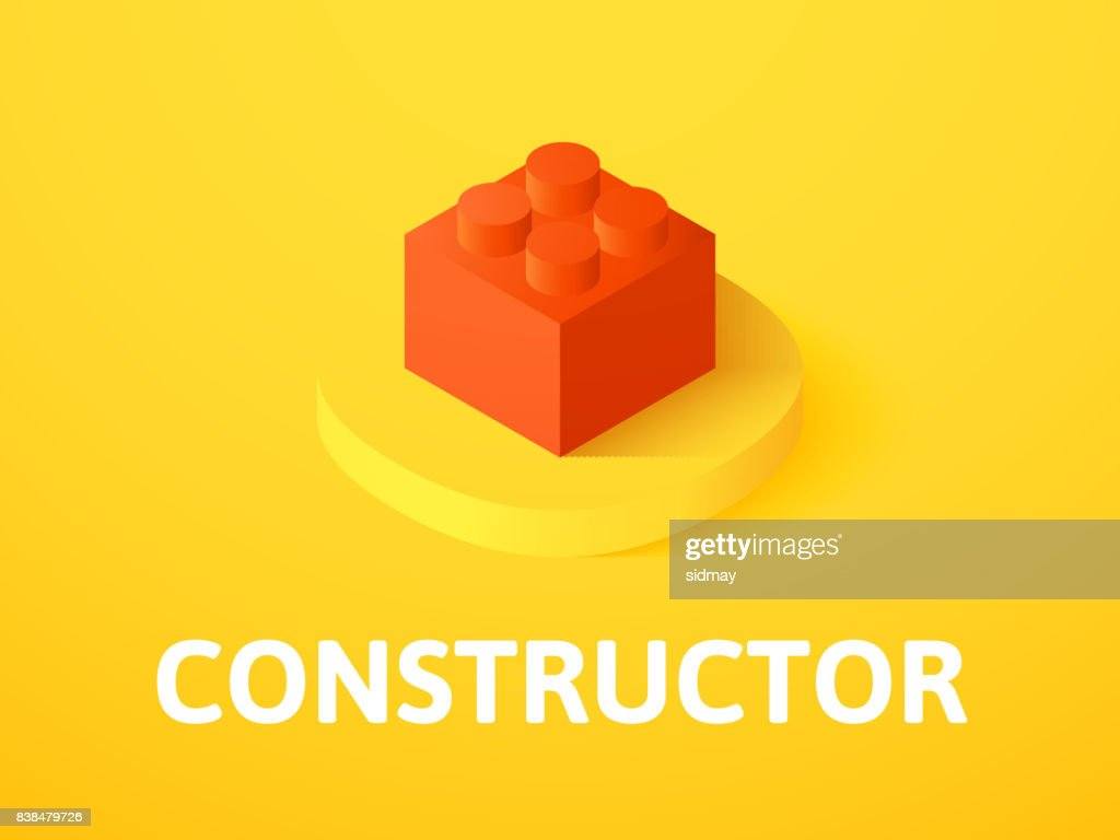 Constructor isometric icon, isolated on color background