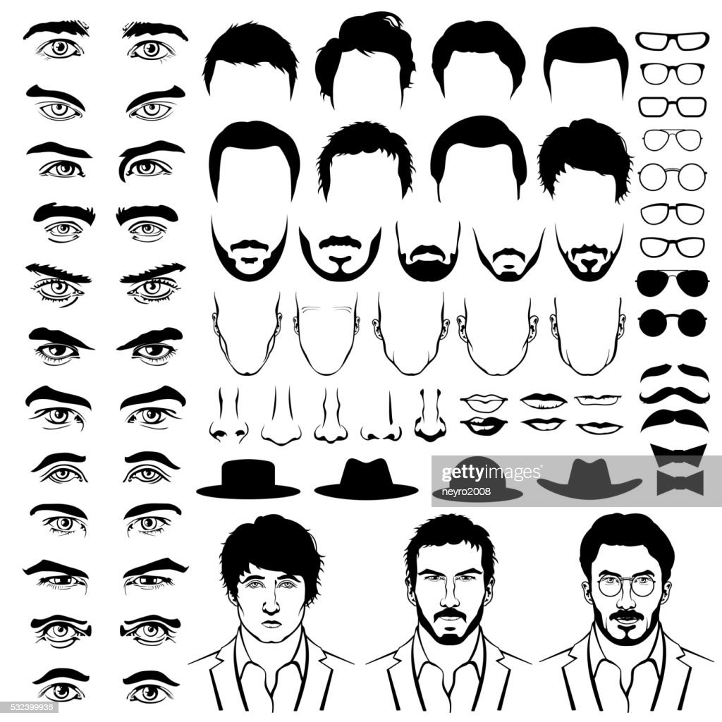 Constructor with men hipster haircuts, glasses, beards, mustaches