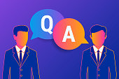 Consulting business advise. Businessman and consultant with speech bubbles and letters q and a on violet gradient