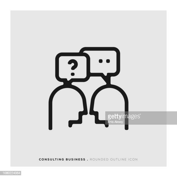 consulting business rounded line icon - explaining stock illustrations