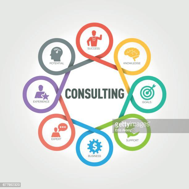 consulting infographic with 8 steps, parts, options - guru stock illustrations, clip art, cartoons, & icons