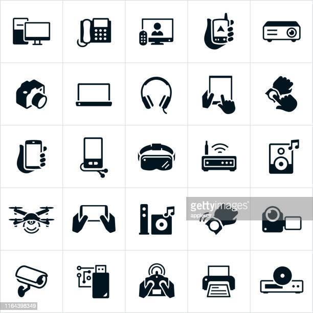illustrazioni stock, clip art, cartoni animati e icone di tendenza di icone dell'elettronica di consumo - hi fi