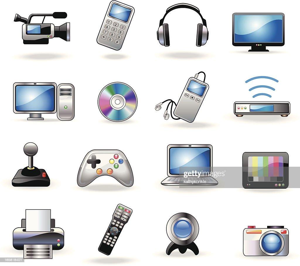 consumer electronics icons : stock illustration