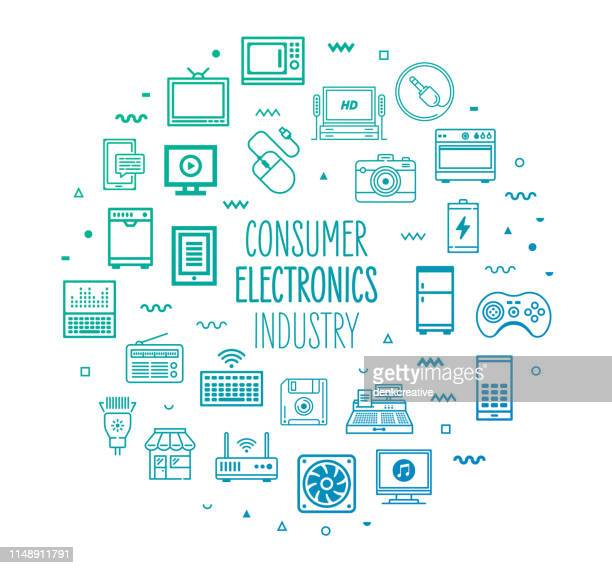ilustrações, clipart, desenhos animados e ícones de consumer electronics indústria outline estilo infográfico design - loja de produtos eletrônicos