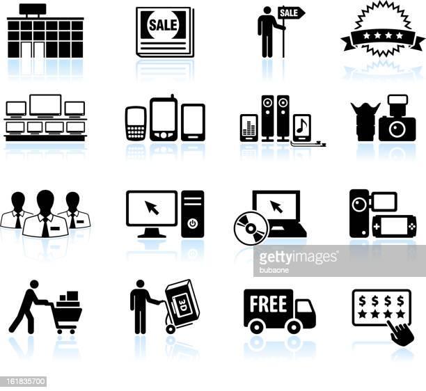 consumer electronics super store sale black & white icon set - computer speaker stock illustrations, clip art, cartoons, & icons