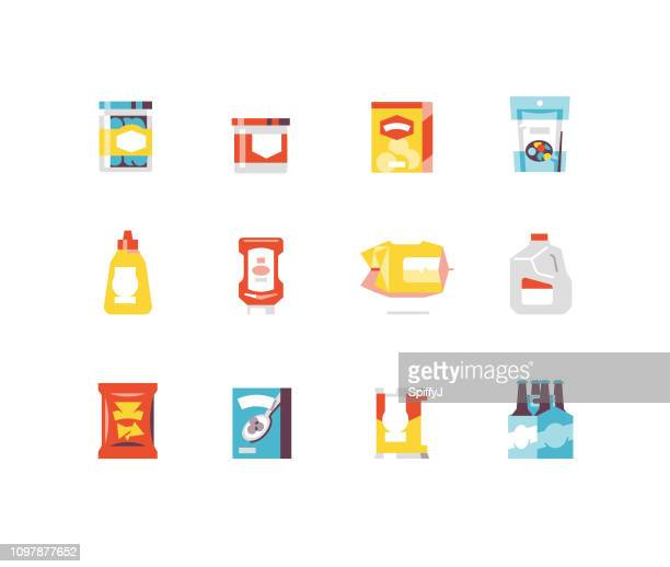 consumer goods 1 - food flat icons - breakfast cereal stock illustrations, clip art, cartoons, & icons