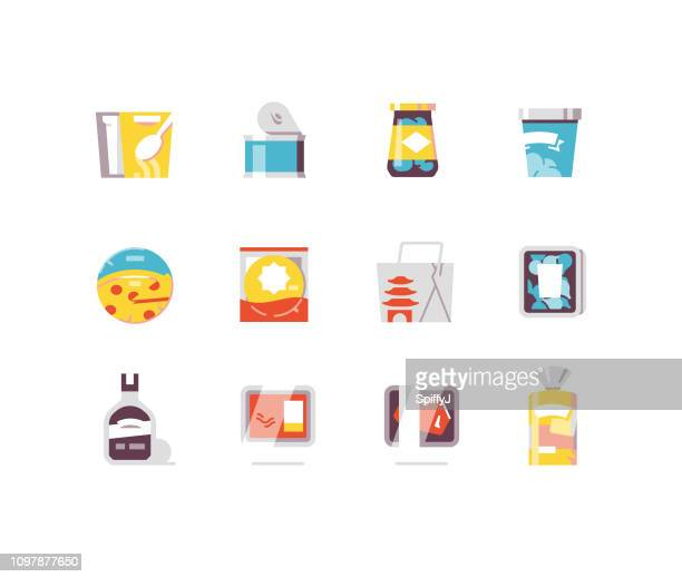 consumer goods 3 - food flat icons - unhealthy eating stock illustrations