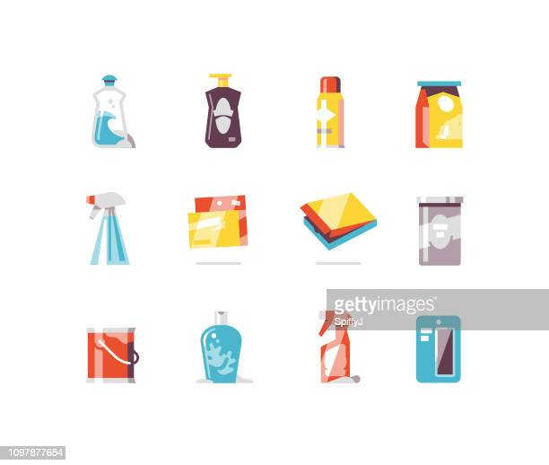 consumer goods 4 - packaging flat icons - pet equipment stock illustrations, clip art, cartoons, & icons