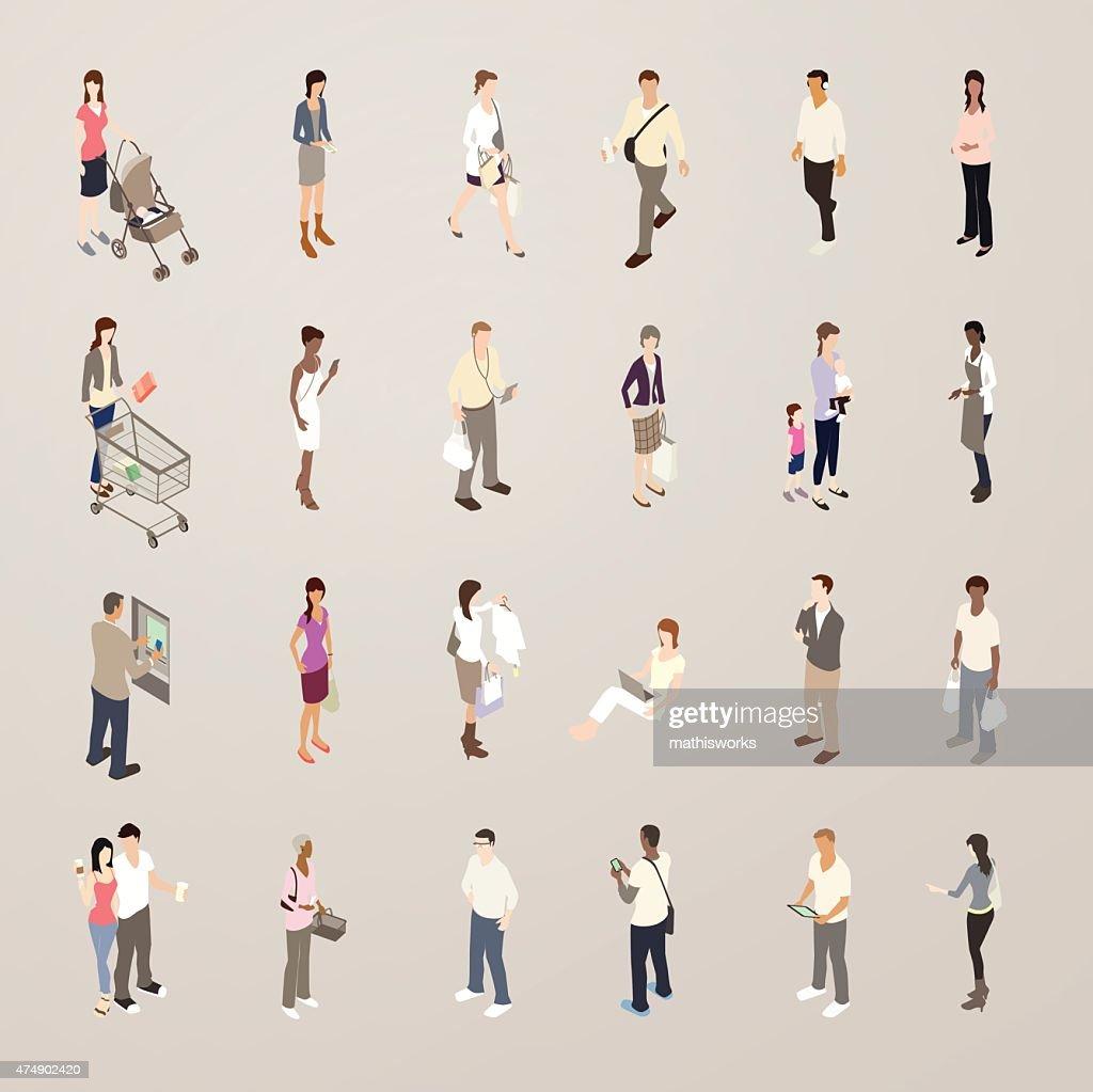 Consumers - Flat Icons Illustration : Vector Art