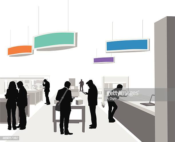 consumersbuyingelectronics - electronics industry stock illustrations, clip art, cartoons, & icons