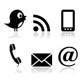 Contact and social media icons set- twitter, Facebook, RSS