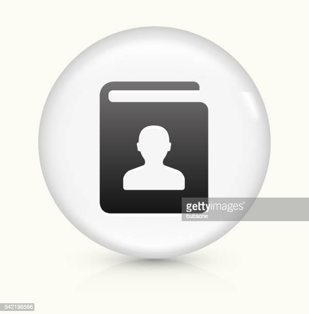 Contact Book icon on white round vector button