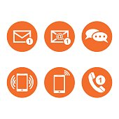 Contact buttons set icons. Email, envelope, phone, mobile. Vector illustration in flat style on round orange background.