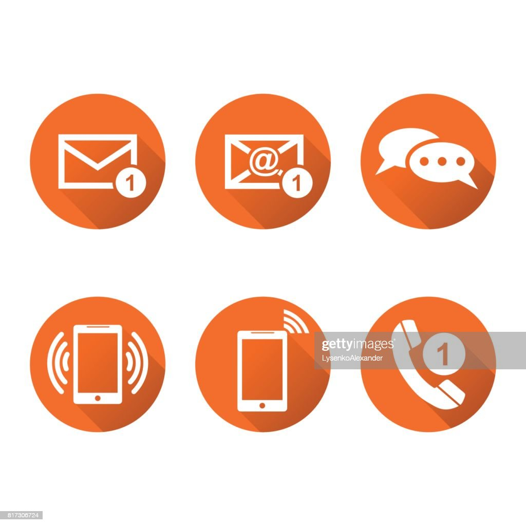 Contact buttons set icons. Email, envelope, phone, mobile. Vector illustration in flat style on round orange background with shadow.