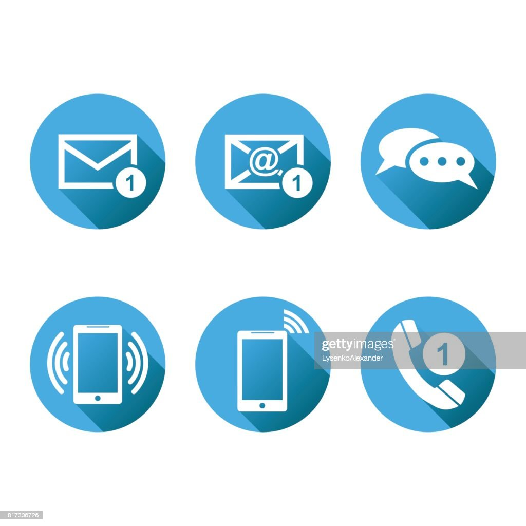 Contact Buttons Set Icons Email Envelope Phone Mobile Vector