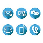 Contact buttons set icons. Email, envelope, phone, mobile. Vector illustration in flat style on round blue background with shadow.