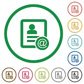Contact email flat icons with outlines