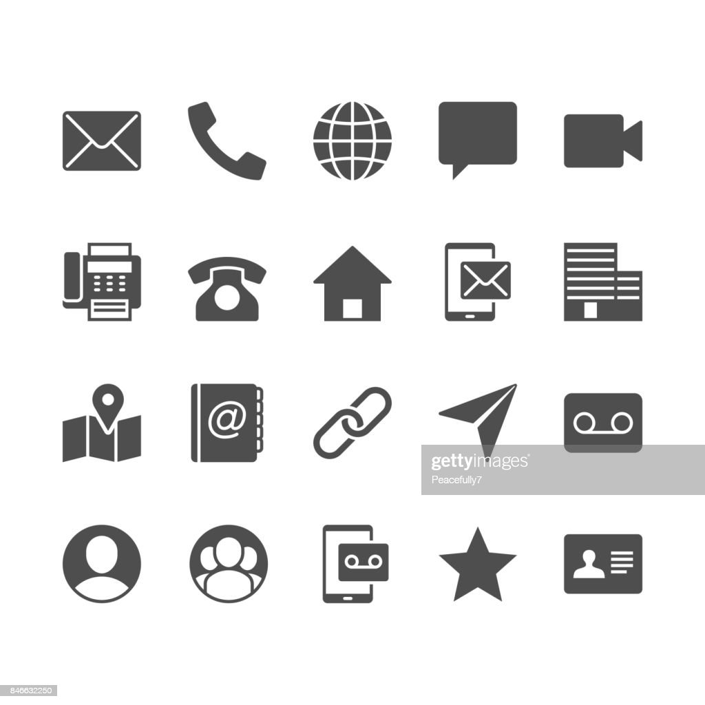 Contact flat icons.