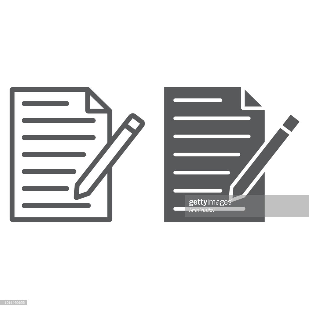 Contact form line glyph icon, paper and pen, blank sign, vector graphics, a linear pattern on a white background, eps 10.