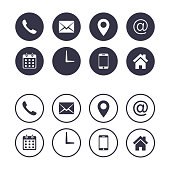 Contact icon set isolated on circle, Vector collection, flat illustration. Business Calling card elements.