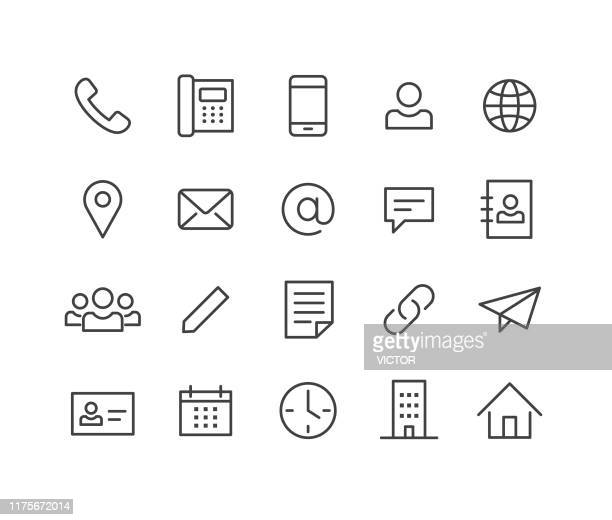 contact icons - classic line series - spreadsheet stock illustrations