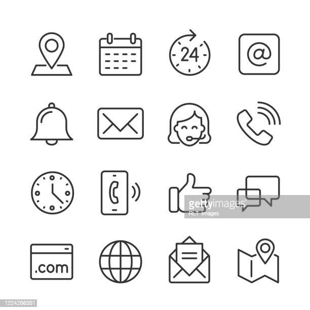 contact icons — monoline series - bell stock illustrations