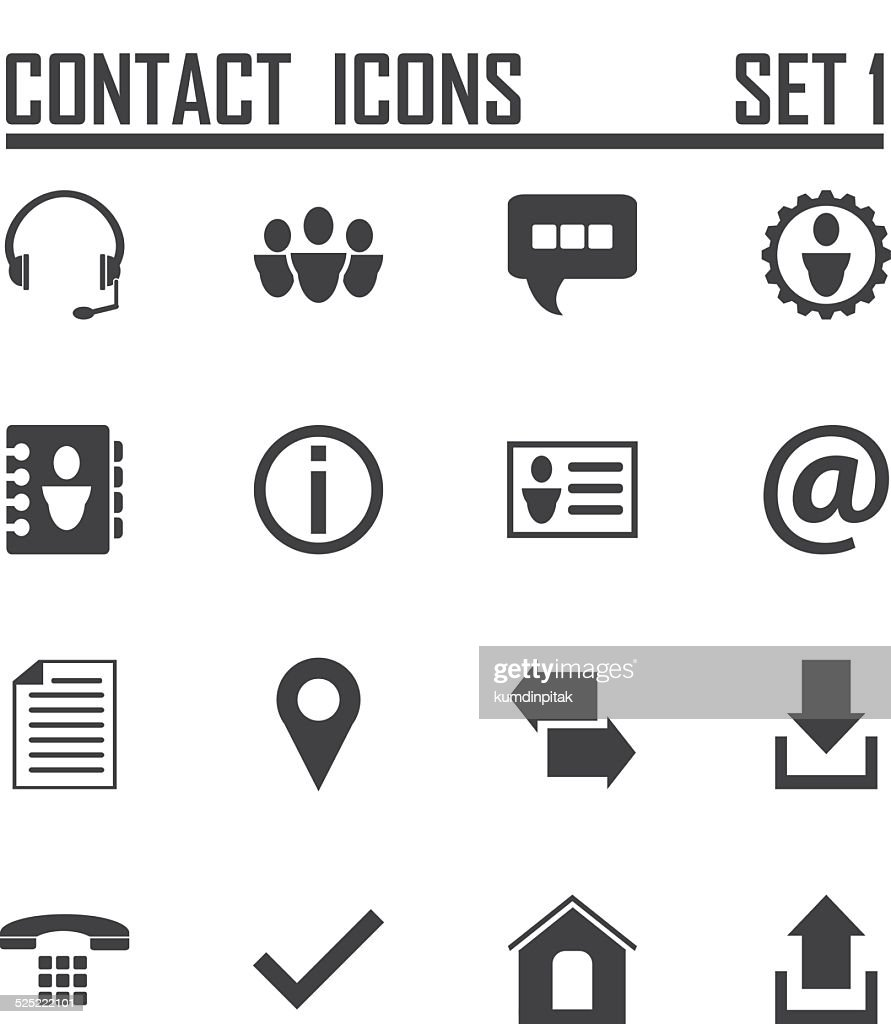 Contact icons on white background, stock vector set 1