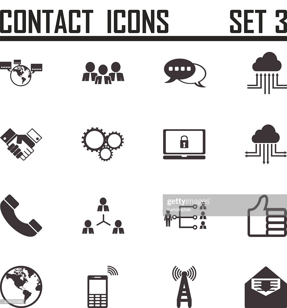 Contact icons on white background, stock vector set 3
