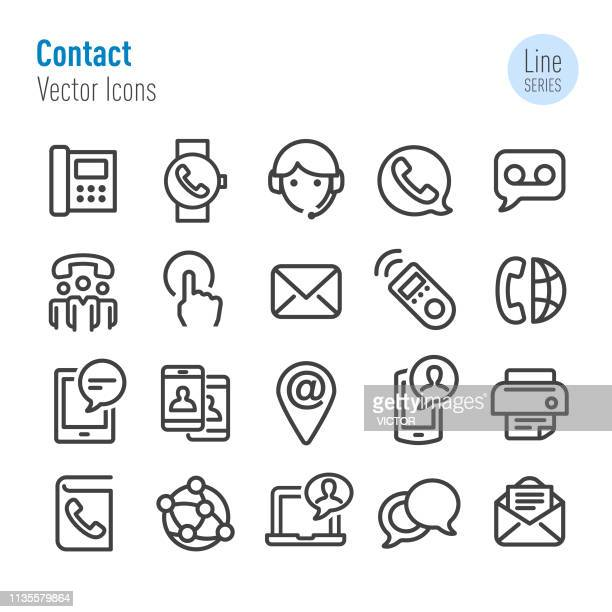 illustrazioni stock, clip art, cartoni animati e icone di tendenza di contact icons set - vector line series - parte di una serie