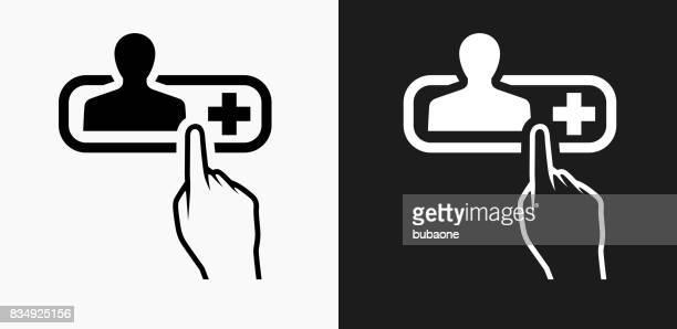 Kontakt Info-Icon auf schwarz-weiß-Vektor-Hintergründe