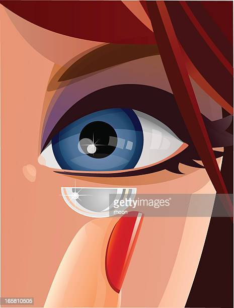 contact lens close-up - inserting stock illustrations