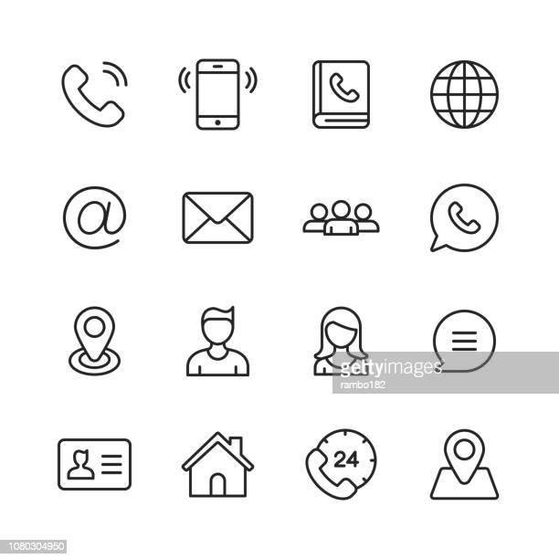contact line icons. editable stroke. pixel perfect. for mobile and web. - telephone stock illustrations