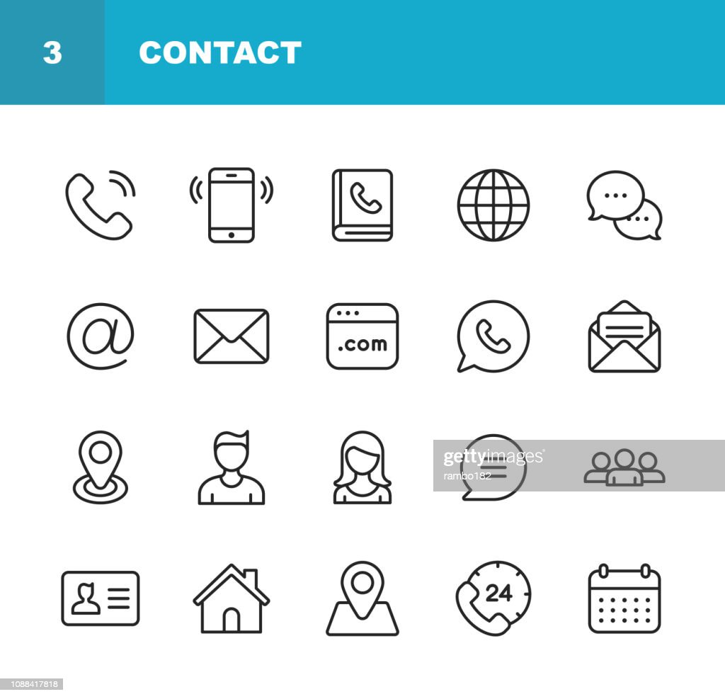 Contact Line Icons. Editable Stroke. Pixel Perfect. For Mobile and Web. Contains such icons as Smartphone, Messaging, Email, Calendar, Location. : Illustrazione stock