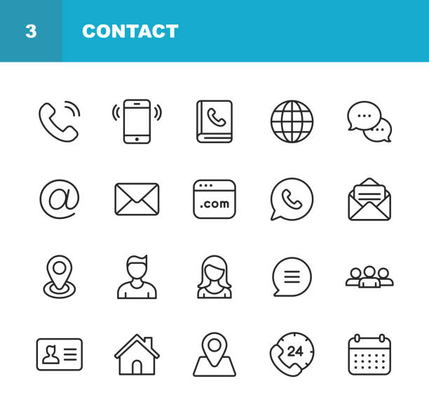 contact line icons. editable stroke. pixel perfect. for mobile and web. contains such icons as smartphone, messaging, email, calendar, location. - vector stock illustrations