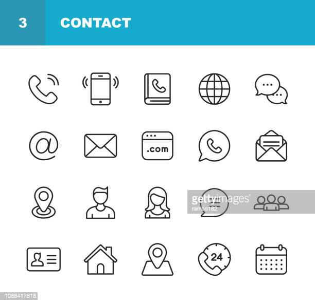 contact line icons. editable stroke. pixel perfect. for mobile and web. contains such icons as smartphone, messaging, email, calendar, location. - information medium stock illustrations